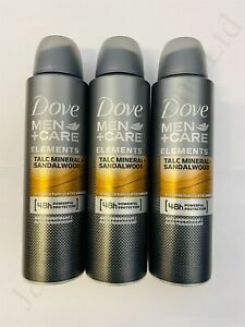 3 x Dove Men+Care Talc Mineral + Sandalwood Anti-Perspirant Spray 150ml