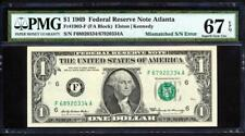 "1969 $1 Mismatched Serial# Error ""Atlanta"" Pmg Superb Gem Unc 67Epq Finest Known"