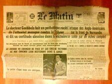 """JOURNAL DE PROPAGANDE DE LA COLLABORATION / """"LE MATIN"""" N° 21822 / 20 JUIN 1944"""