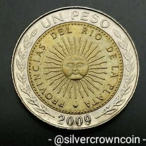 Argentina 1 Peso 2009. One Dollar coin. Sun Face.