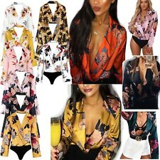 New Womens Ladies Floral Print Satin Bodysuit Tuxedo Wrap Over Shirt Blouse Top