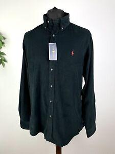 Polo Ralph Lauren Black Corduroy Long Sleeve Button Down Shirt Size Large