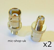 SMA Female to BNC Female Adapter Connector Baofeng Wouxun Quansheng Kenwood x 2