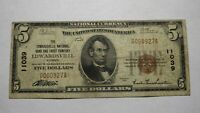 $5 1929 Edwardsville Illinois IL National Currency Bank Note Bill #11039 FINE!