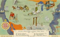 Glo Var Hotel 1940s Mark Twain Literature Map Attraction Postcard 9941