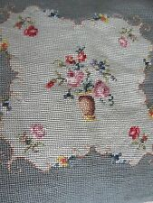 Antique Vtg Needlepoint Pillow Seat/Stool Cushion Pillow Cover Green Rose Floral