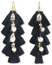 18k Gold Plated Freshwater Pearl Black Tassel Earrings New Women's Jewelry