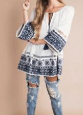 Free People Counting Stars Tunic - Ivory Combo  Size Medium Org 198$