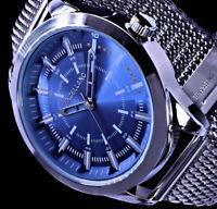 Excellanc Herren Armband Uhr Hellblau Edelstahl Mesh Armband SI-9-2