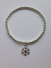 Snowflake Charm Bracelet Silver Plated Beaded Stretch Handmade