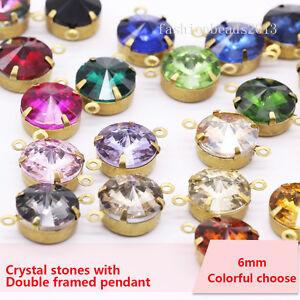 20p 6mm round Vintage crystal 2hole pendants rhinestones Connectors Charms beads