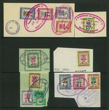 SOUTH AFRICA - 1954 revenue stamps on pieces to £2 (Superb cancels) (ME084)**