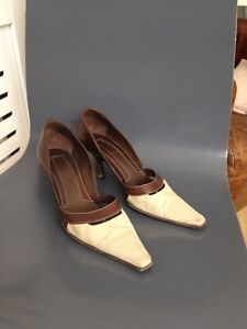 Sergio Rossi Pointed Court Shoes, Canvas And Leather, EU 35, UK 2