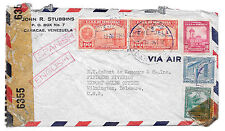 WWII Censored Venezuela 1944 Airmail Commercial Cover to US 2 90c C96 Oil Wells