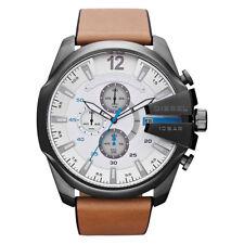 DIESEL Uhr DZ4280 MEGA CHIEF Herren Chronograph Grau Leder Braun Armbanduhr NEU