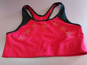 Victorias Secret Pink Ultimate Exercise Bra Red/black With Gold Stars Lg racer