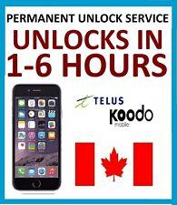 UNLOCK SERVICE FOR iPHONE 7+ 7 6S+ 6S 6+ 6 5S 5SE 5 4 TELUS / KOODO CANADA