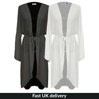 Womens Ladies Long Chiffon Kimono Jacket Ladies Belted Waterfall Kimono Coat