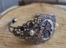 Vintage steampunk Uhr Zahnräder Perlen retro armreif bracelet gothic armband