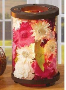 Botanical Tea Light Candle Holder - Vibrant Pink and White Flower Motif