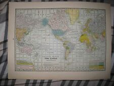 SUPERB ANTIQUE 1926 WORLD MAP COLONIAL AREAS UNITED STATES ASIA AUSTRALIA NR