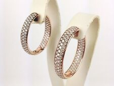 18K Rose Gold Pink Gold Inside Out Round Diamond Hoop Earrings 1 1/2 inch 5.69CT