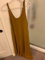Zara midi dress size M ochre yellow brow asymetrical