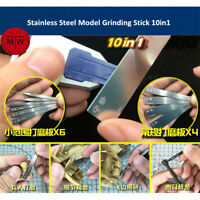 Stainless Steel Model Grinding Stick File Hobby Craft Tools 10in1