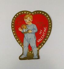 """Vintage 1940's Valentine Card Boy In Pajamas Candle Dream of You 2 3/4"""" x 3 1/2"""""""