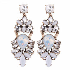 Stunning Vintage Gold White Crystal Stud Dangle Statement Earrings