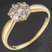 Dainty & Low 18k Solid Yellow GOLD CZ set Round DAISY CLUSTER RING Sz L