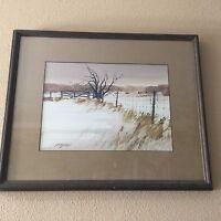 """ED Gifford Original Watercolor Landscape, Signed, Framed, 14"""" x 9 3/4"""" (Image)"""