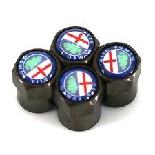 Black White Alfa Romeo Car Wheel Tyre Valve Dust Caps - Covers  NEW