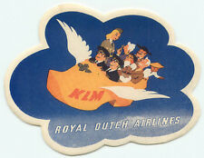 KLM ROYAL DUTCH AIRLINES FLYING SHOE OLD AVIATION LUGGAGE BAGGAGE LABEL