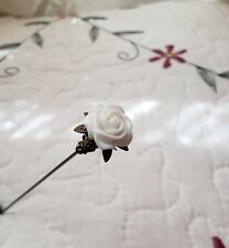 Victorian Hat Pin Vintage Inspired White Rose Bead Antique Brass Fitting Strong