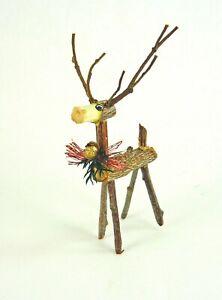 Dollhouse Miniature Artisan Twig Holiday Reindeer, the Cutest!