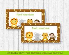 Cute Jungle Safari Animals Buffet Tent Cards & Place Cards Editable PDF