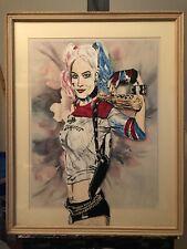 "Beautiful ""Harley Quinn "",  Original  Painting On Glass"
