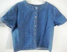 Vntage Denim button down short sleeves top Large Silver Beads accents scoop neck