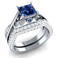 Certified 3 Ct Blue Sapphire & Diamond 14k White Gold Engagement Bridal Set Ring
