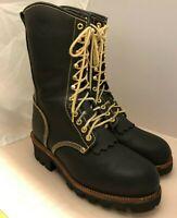 "Georgia Boot Men's 8"" Logger Black Leather 9200 Size 11 M"