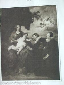 ANTIQUE PRINT 1901 THE DONOR VIRGIN SIR ANTHONY VAN DYCK CHERUBS ANGELS PAINTING