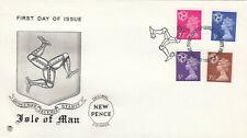 (61036) GB Isle of Man Stuart FDC 7.5p 5p 3p 2.5p Definitives 1971