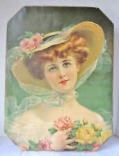 """Antique Candy Box- Taylor Co. 1906- Victorian Lady Print """"Time of Roses"""" Rare"""