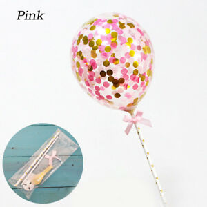 Kids Confetti Balloons Clear Latex Cake Topper Wedding Birthday Party Supply