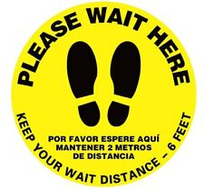 "Please Wait Here Yellow (Bilingual) Safety Floor Decal 15""  (10pcs)"