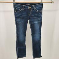 Silver Skinny Jeans Straight Leg Stitched Flap Pockets Denim Blue Womens 29/32