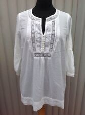 Ladies M&S Indigo Collection White Collin Blouse Smock Top Size 14 Embroidered