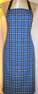 APRON, SCOTTISH TARTAN ROYAL BLUE. FRONT POCKET.'Made in Scotland' GIFT IDEA