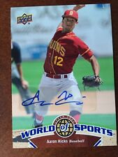 2010 Upper Deck World of Sports Autograph Aaron Hicks Rookie Auto RC